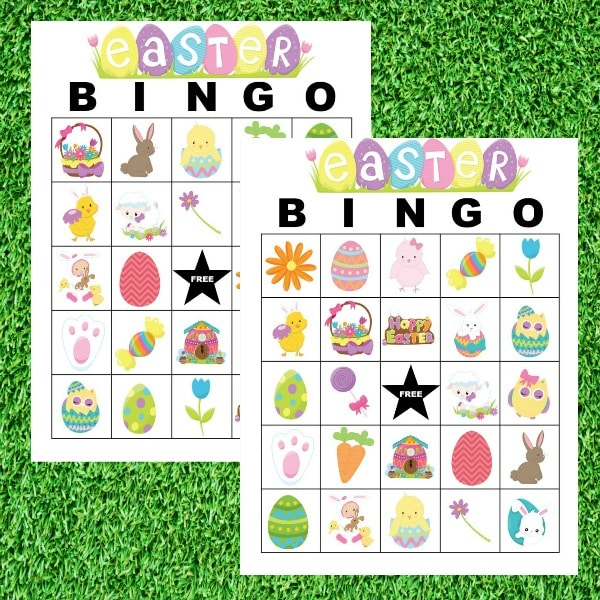 printable Easter Bingo on a grass background