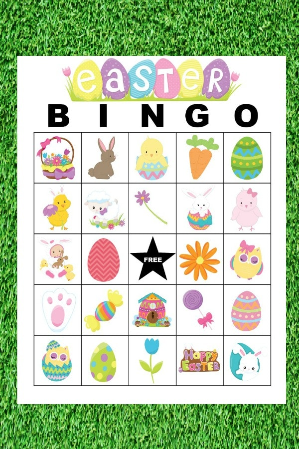 printable Easter Bingo Cards on a grass background
