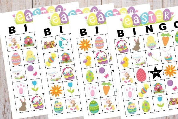 printable Easter Bingo on a wood background