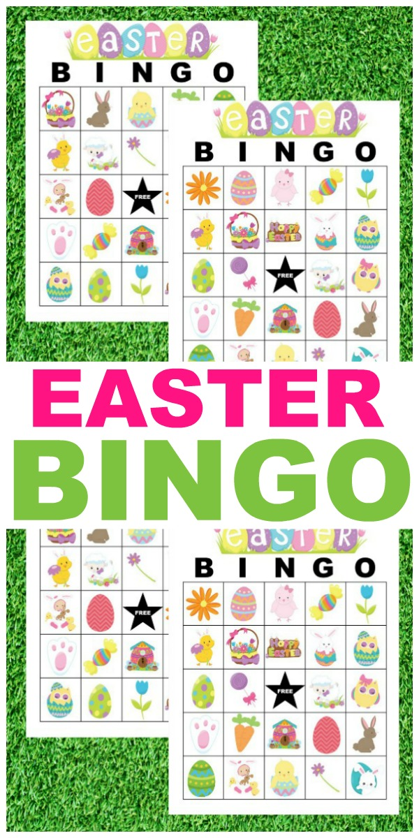 printable Easter Bingo cards on a grass background with title text reading Easter Bingo