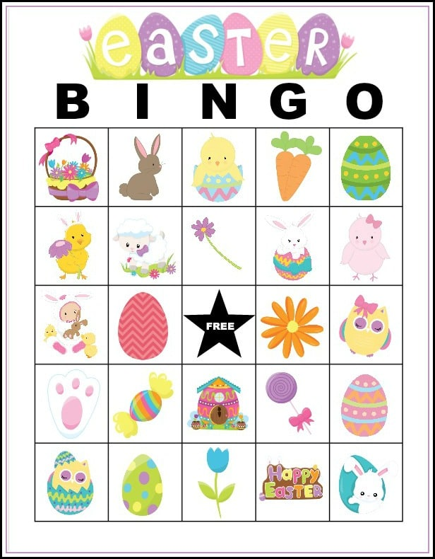 printable Easter Bingo card