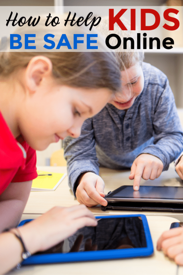 two girls looking at ipads on a desk with title text reading How to Help Kids Be Safe Online