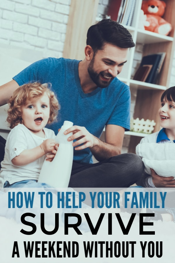 a dad and two kids sitting down with a brick wall and bookcase in the background with title text reading How To Help Your Family Survive A Weekend Without You