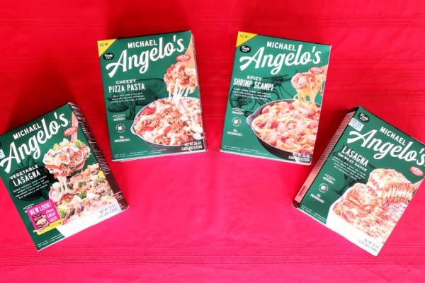 four boxes of Michael Angelo's meals on a red background