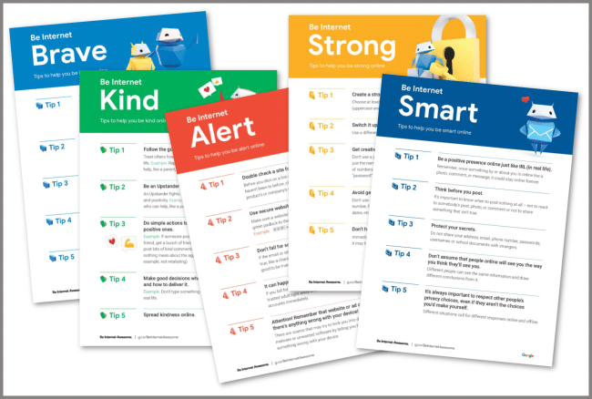 a collage of printables about being safe on the internet