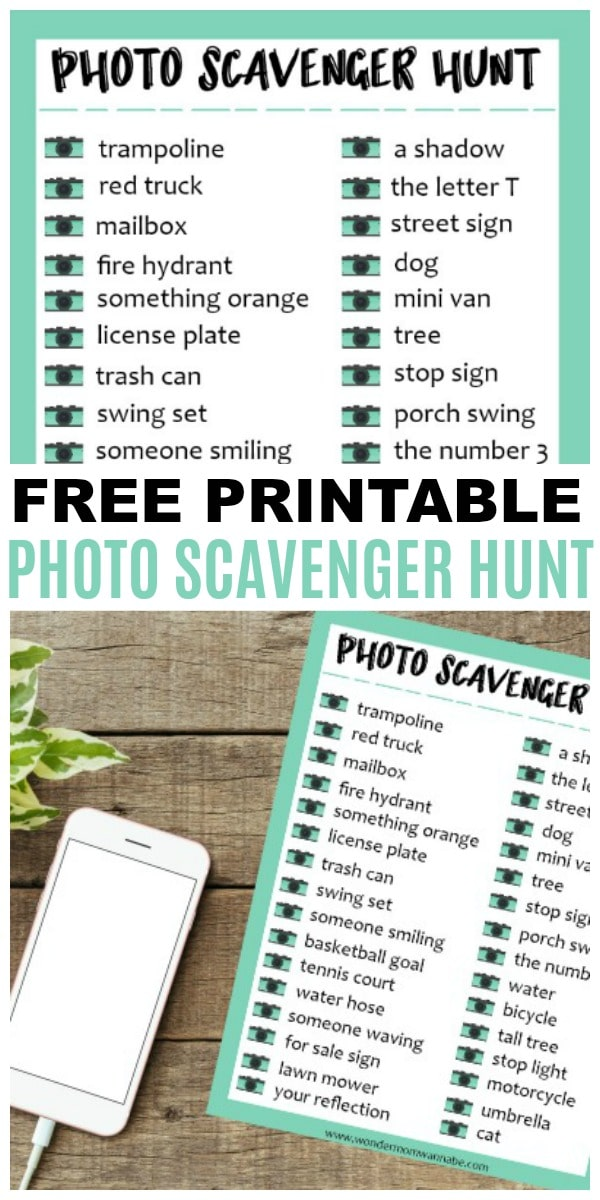 a collage of printable Photo Scavenger Hunt with title text reading Free Printable Photo Scavenger Hunt