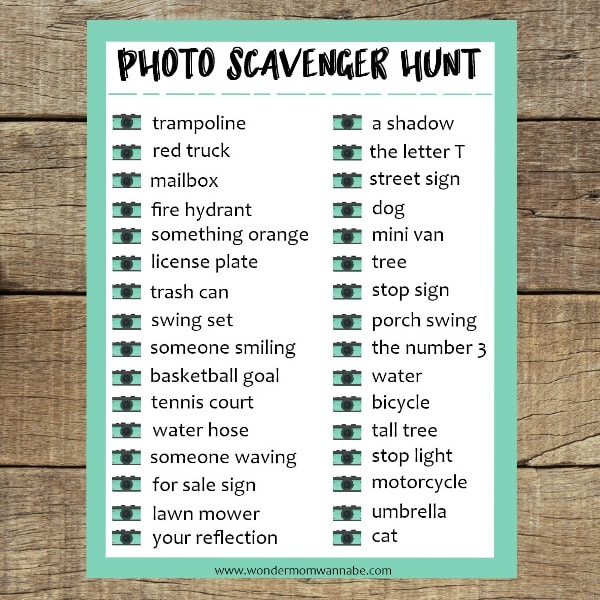 printable Photo Scavenger Hunt on a wood background