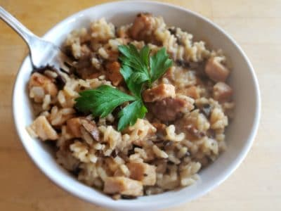 Pressure Cooker Pork Risotto in a while bowl