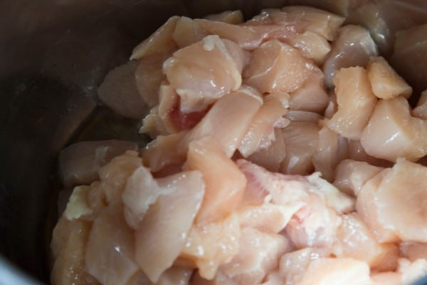 raw diced chicken in an instant pot