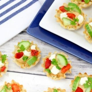 Roasted Red Pepper Hummus Phyllo Cup Appetizers