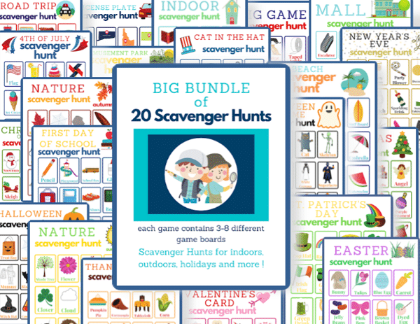 a collage of several different printable scavenger hunts with title text reading Big Bundle of 20 Scavenger Hunts