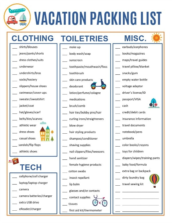 printable vacation packing list