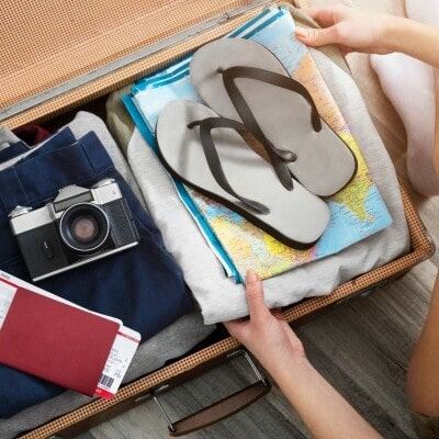 packing items in a suitcase