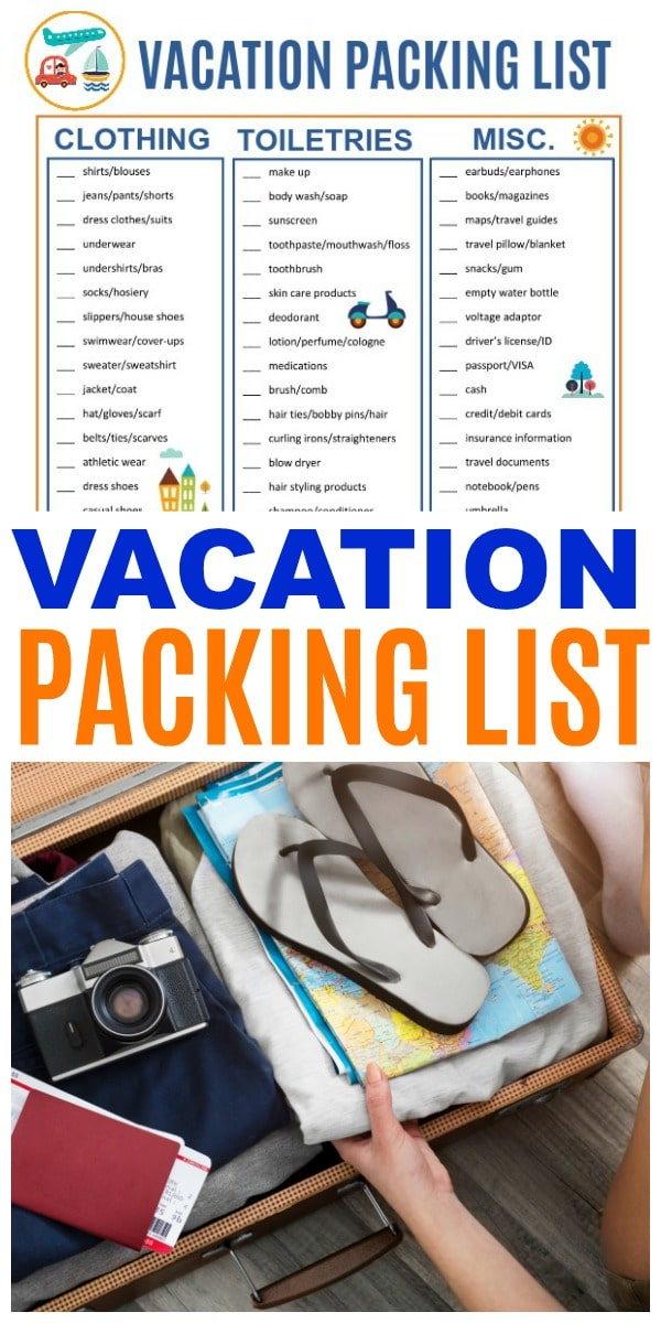 This printable Vacation Packing List will help keep you organized so you can relax while you travel. You won't forget anything important with this list. #printable #travel #packinglist via @wondermomwannab