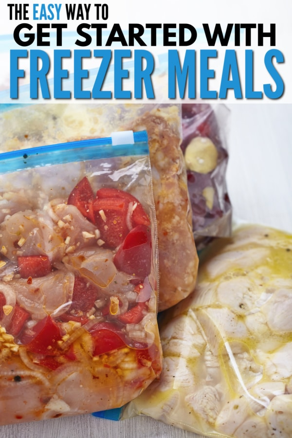 freezer bags full of various meals with title text reading The Easy Way to Get Started with Freezer Meals