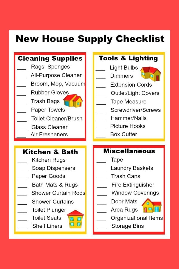 printable new house supply checklist on a red background
