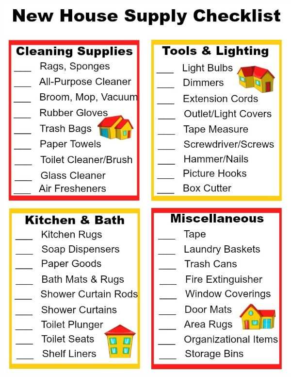 printable House checklist for new home