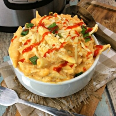 Instant Pot Buffalo Chicken Casserole served in a white bowl ready to eat