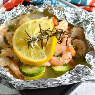 finished Keto Shrimp Foil Packets that are ready to eat