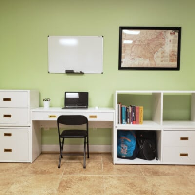 newly designed and organized study area in basement