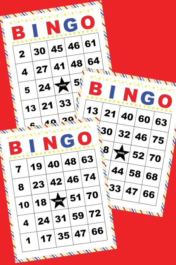 printable bingo cards on a red background