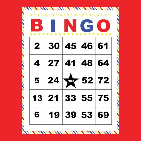 printable bingo card on a red background