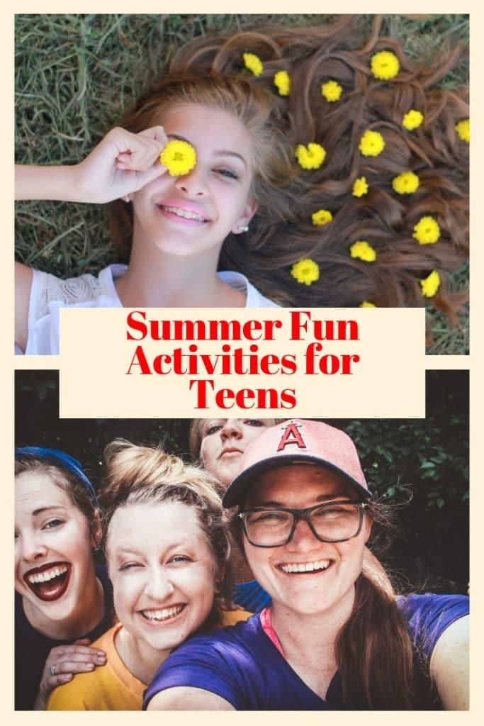 a girl laying on the grass holding a yellow flower above her eye with more yellow flowers on her hair, four females smiling, title text in the middle reading Summer Fun Activities for Teens