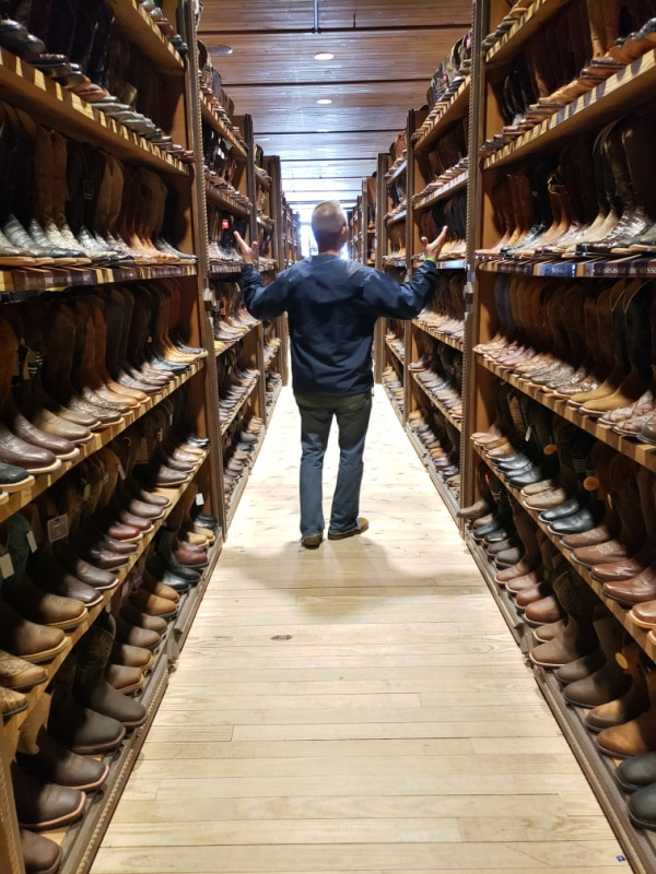 looking at all the boots