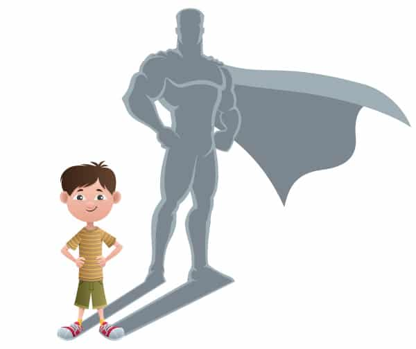a graphic of a boy standing and in his shadow is the image of a superhero