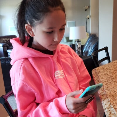 Daughter on phone