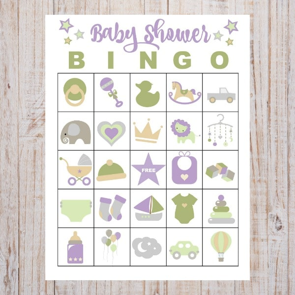free printable baby shower bingo on a wood background