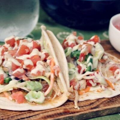 close up of Instant Pot Chicken Enchilada Tacos