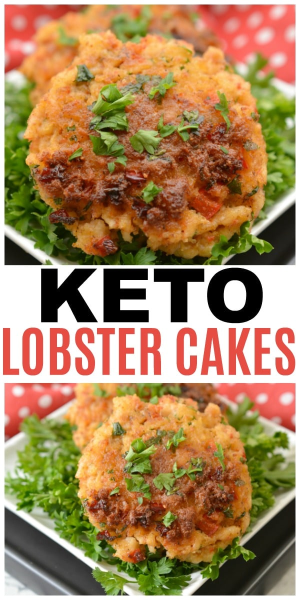 a collage of Keto Lobster Cakes on top of parsley on a white plate on a red and white polka dot cloth