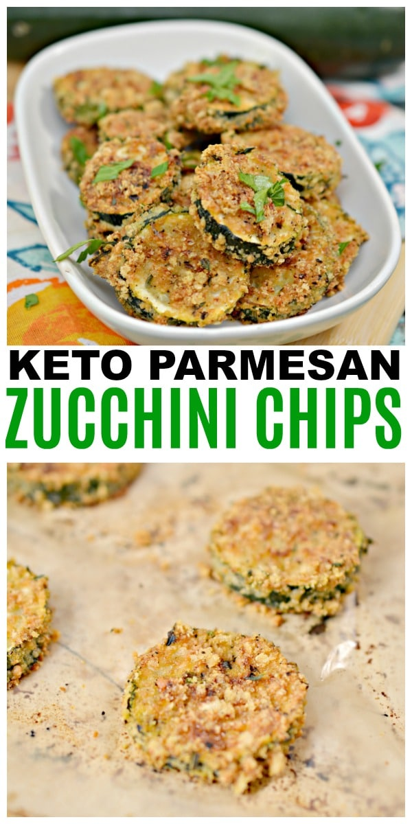 a collage of zucchini chips with title text reading Keto Parmesan Zucchini Chips