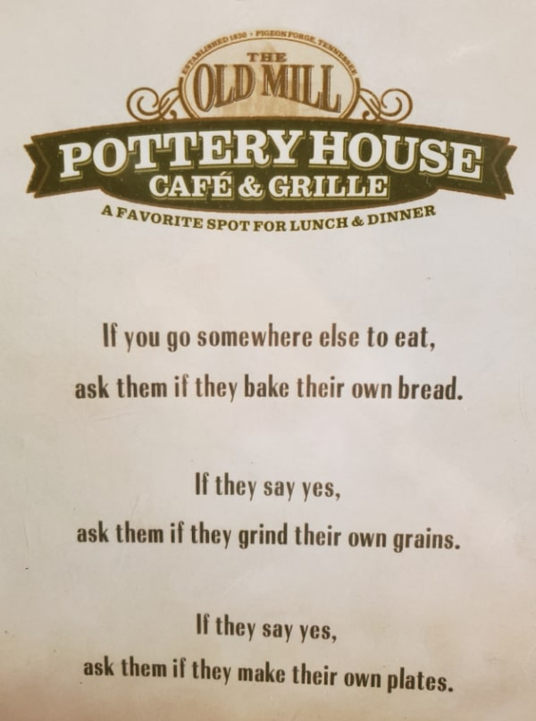 a menu cover for the Old Mill Pottery House Cafe & Grille