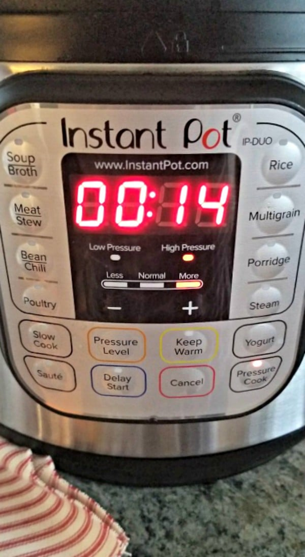 Instant Pot set to high pressure with a timer for 14 minutes