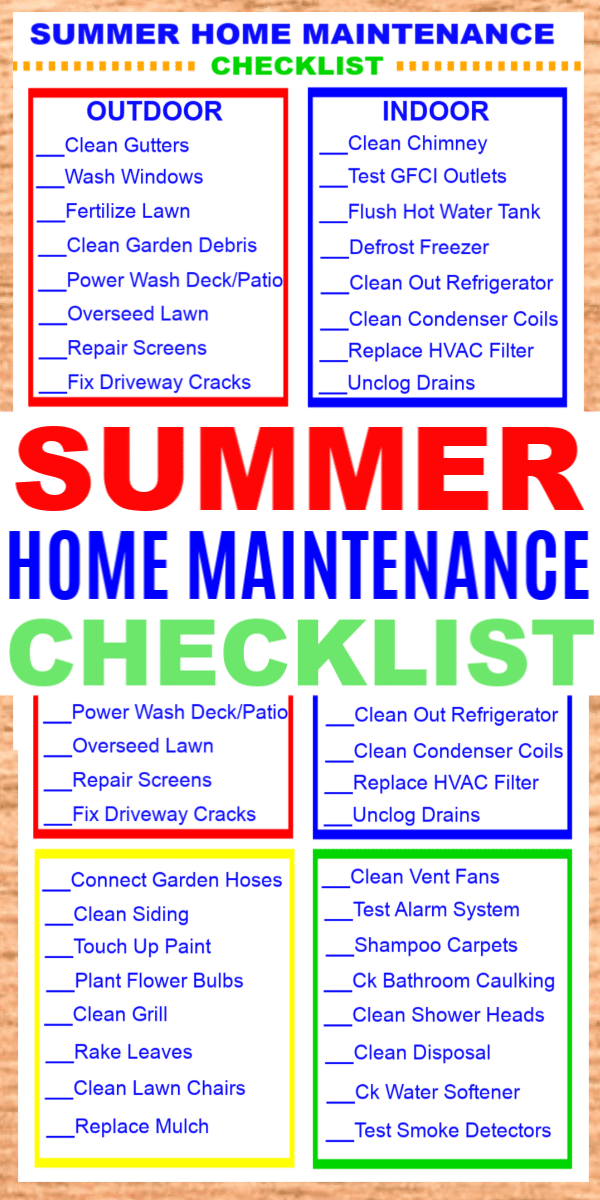 A Summer Home Maintenance Checklist will help you get your home ready inside and out for warm weather. Print off this handy checklist today! #printables #home #checklist via @wondermomwannab