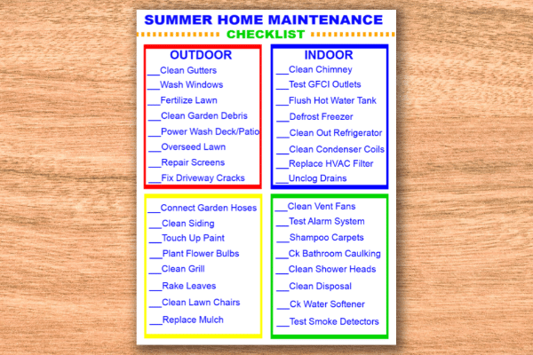 printable Summer Home Maintenance Checklist on a brown background
