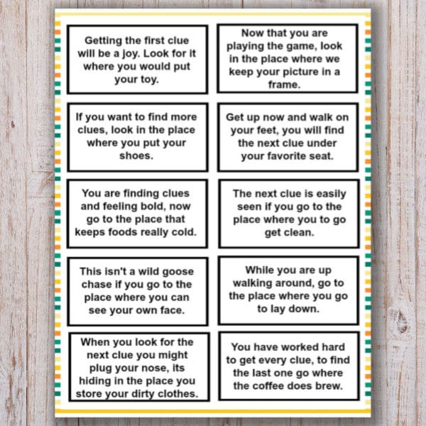 printable Treasure Hunt Clues for Kids on a wood background