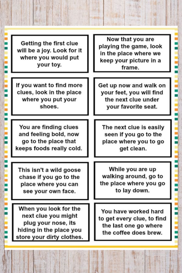Treasure Hunt Clues for Kids