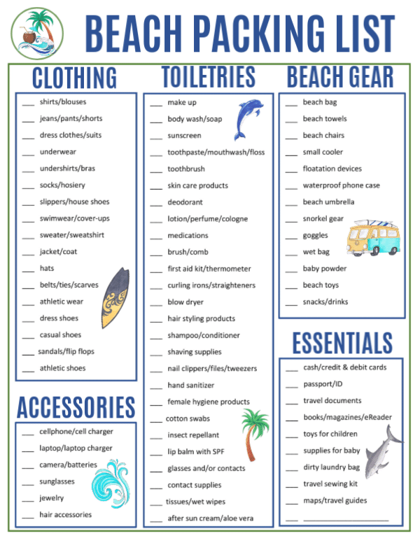 photograph regarding Printable Beach Packing List referred to as Beach front Packing Record