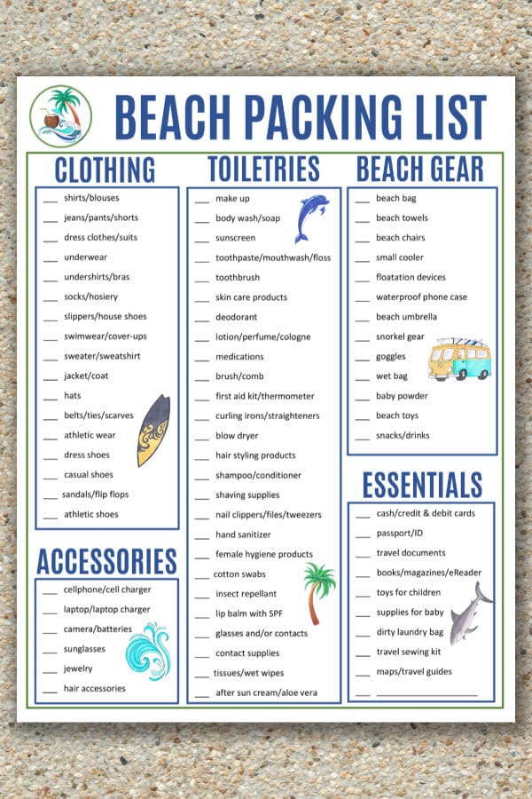 image regarding Printable Beach Packing List identify Seashore Packing Record