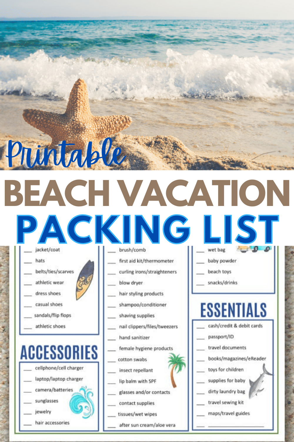 A beach packing list will help you stay organized for a beach vacation. This printable beach packing list covers what you may need for a day at the beach. #printables #vacation #packinglist via @wondermomwannab