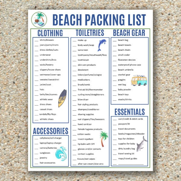 graphic relating to Printable Beach Pictures named Seashore Packing Checklist