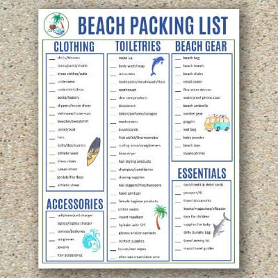 printable beach packing list