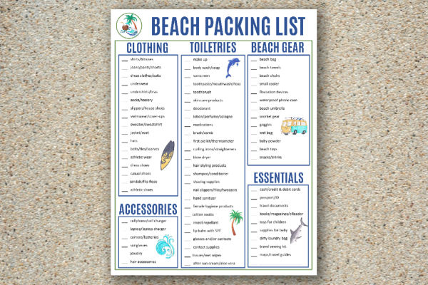 printable beach packing list