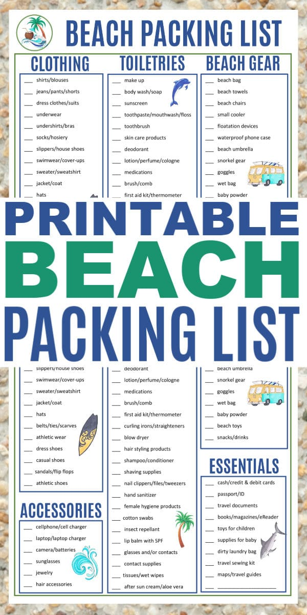 picture about Printable Beach Packing List identified as Beach front Packing Listing