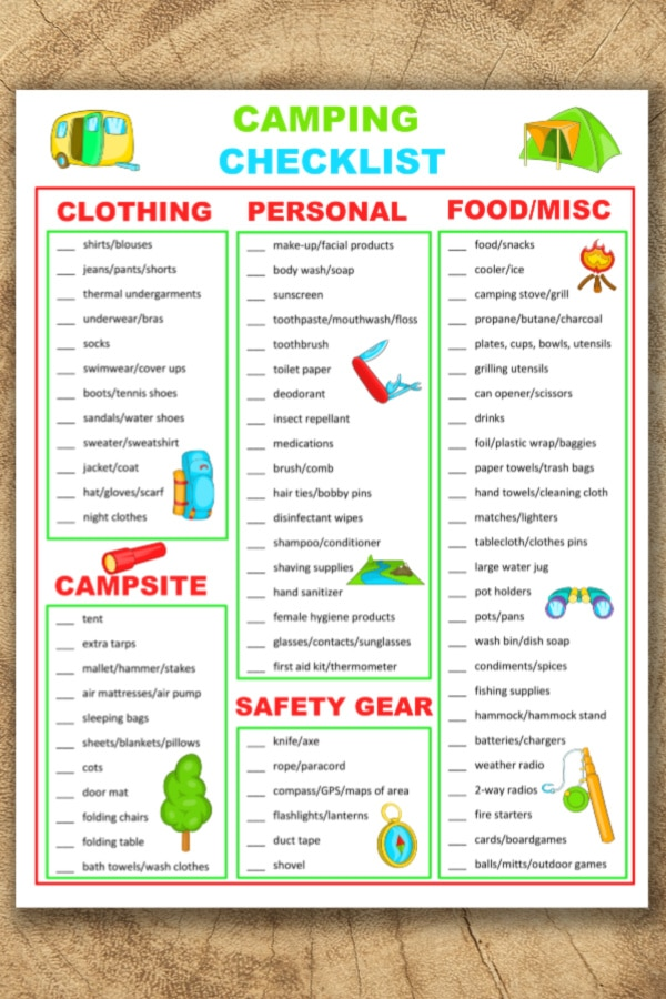 photograph about Camping Food List Printable called Tenting List Printable