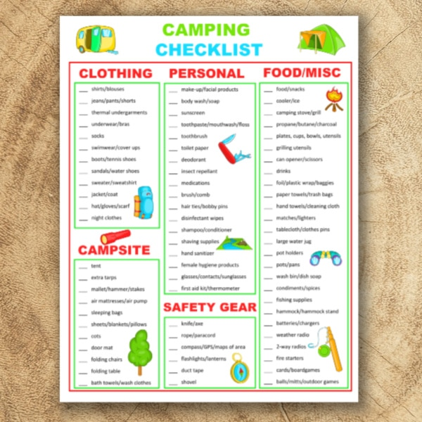 camping checklist printable on a wood background