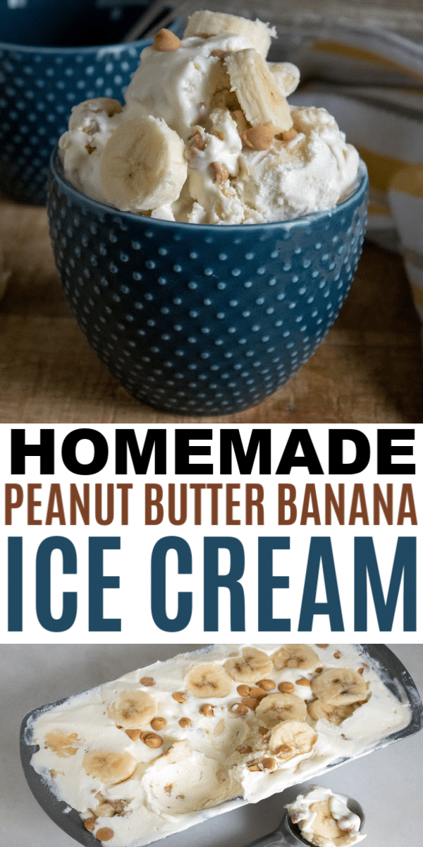 This easy homemade peanut butter banana ice cream is a simple no-churn recipe with only 5 ingredients. This will become a favorite homemade ice cream. #icecream #nochurn #dessert #peanutbutterbanana via @wondermomwannab